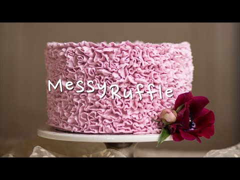 Messy Ruffles Buttercream Cake Piping Decorating Timelapse Tutorial Video - The Cake Flower