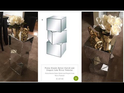 Dollar Tree DIY - 💕 Cube Mirror Pedestal💕