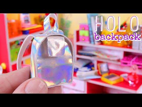 DIY Miniature School Supplies, part I - Holo Backpack, Holo Purse, Desk, etc.