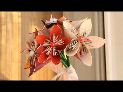 Paper Flower Bouquet DIY, Origami Flower Tutorial