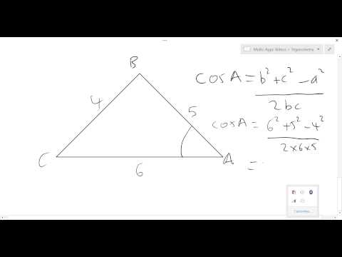 Cosine rule - finding an unknown angle