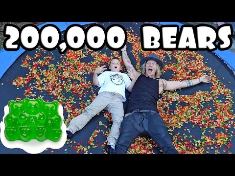 200,000 GUMMY BEARS ON A TRAMPOLINE