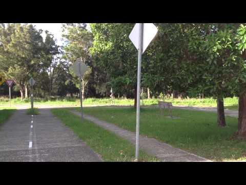 Tammy Kisela riding 5 foot unicycle
