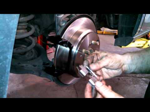 Rear brake pad replacement 2006 Honda Odyssey rotor caliper Install Remove Replace How to