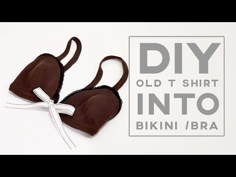 Diy Old T Shirt into Bikini / Bra   Use a thick T shirt   FREE TEMPLATE DOWNLOAD   自己做的内在美实在很好穿!! ❤❤