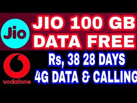 JIO 100 GB DATA FREE | VODAFONE Rs, 38 DATA & CALLING 28 DAYS