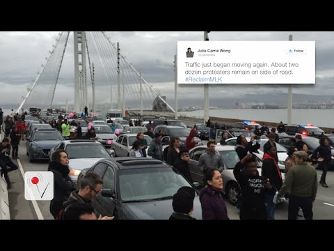 Protesters get chained together during rush hour traffic in San Francisco