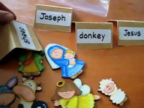 Christmas. Reading and recognizing Nativity word cards and match with wooden pictures.