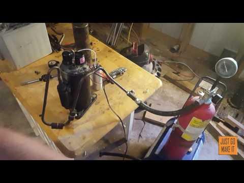 how to build a vaccum pump / air compressor out of a AC unit.