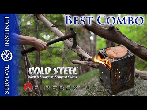 Use the Cold Steel Pipe Hawk to feed the Firebox Stove