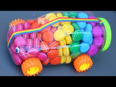 Learn Colors Macaroon Car Surprise Toys Tayo Little Bus Car Rainbow Macroon Kids Video