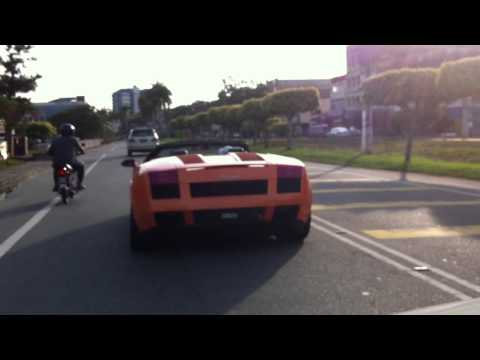 Orange Lamborghini Gallardo Spyder in Port Dickson , Malaysia .