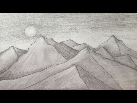 How to draw Mountain Landscape scenery of moonlight with pencil sketch.Step by step(easy draw)