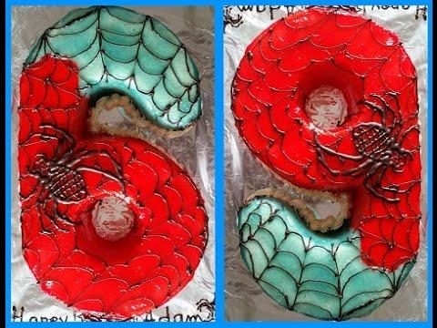no. 6 or 9 cake without a cake mold-spiderman cake-  كيك على شكل رقم 6 او 9 بدون قالب كيك