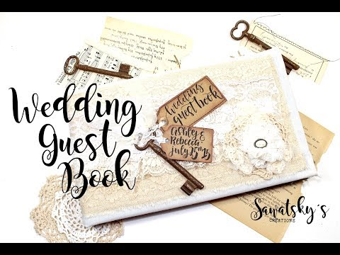 Handmade lace wedding guest book