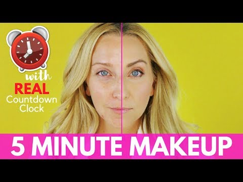 5 MINUTE MAKEUP TUTORIAL CHALLENGE with Easy Contouring and Highlighting!