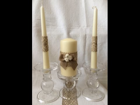 Save Money - make your own gifts- Rustic Unity Candle for a Wedding Ceremony, Christmas