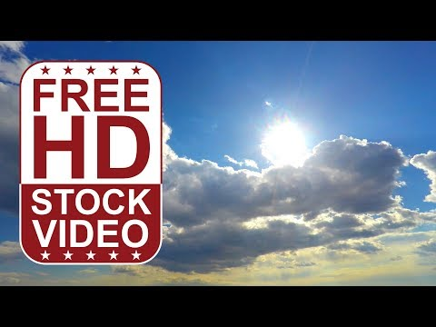 FREE HD video backgrounds –GoPro Hero4 raw footage sky with grey puffy clouds and sun set time lapse
