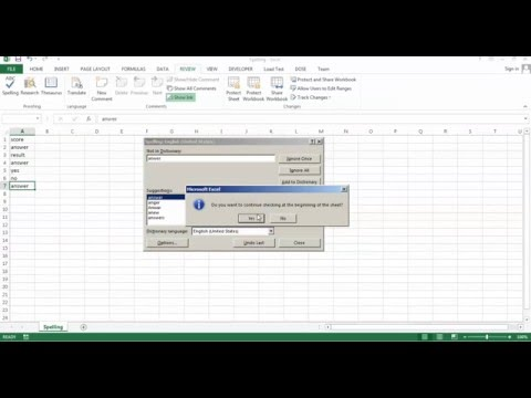 Excel Spelling - how to use Spelling add to dictionary - autocorrect - ignore - change