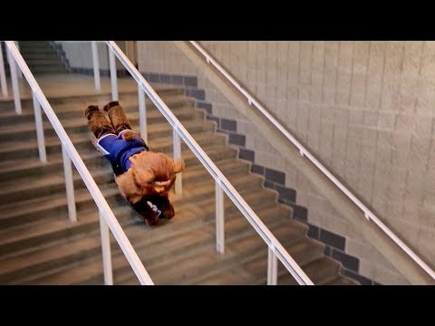 Sledding Down Stairs!!  *dont try this*