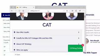 CAT All Colleges Cutoffs. IIMs and Non IIMs.