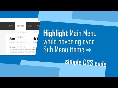 Highlight Main Menu while hovering over sub-menu items