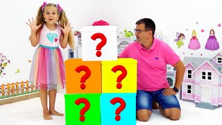 Diana with Dad learn how to have fun and play different games inside