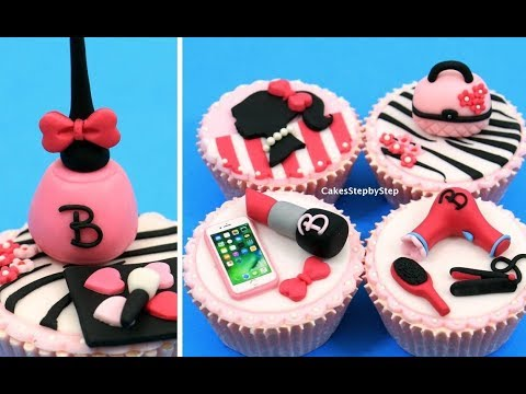 MAKEUP Barbie Cupcakes   Cake Toppers   How to make by Cakes StepbyStep