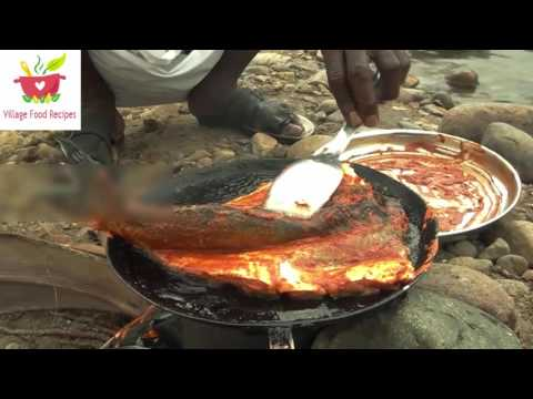 BIG FISH cleaning and cooking in nature stove at nature location Village Food Recipes