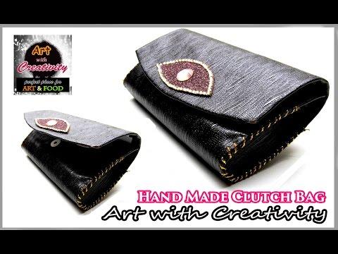 DIY Fabric & leather Purse | Clutch bag | Art with Creativity 105