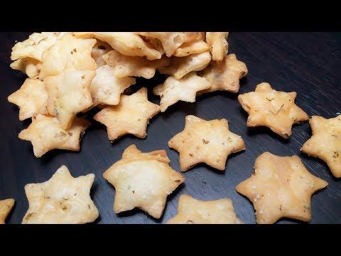 Star shape mathari - Namak pare recipe in hindi - Maida Namkeen Star snacks recipe