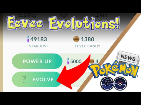 Eevee Evolutions! Testing the New Question Mark Eevee Evolve Button! Pokemon GO 0.57.2 Update