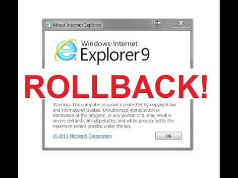HOW TO rollback to a previous version of INTERNET EXPLORER - WIN 7