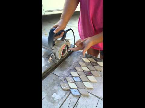 Using a wet saw for cutting tile