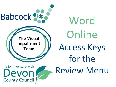 Word Online- Access Keys For The Review Menu