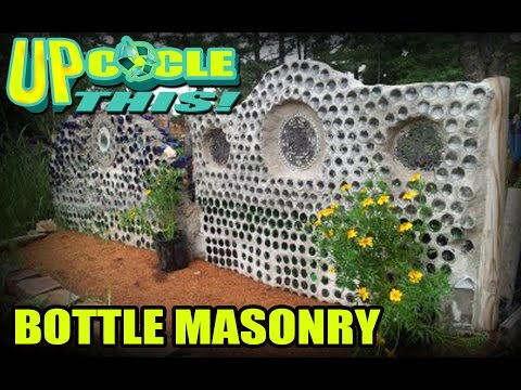Upcycle This! How to build masonry wall, stairs and mailbox tower using recycled bottles!