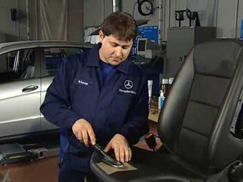 Leather smart repair on a Mercedes leather seat, HBC system B1 is aprowed for Mercedes