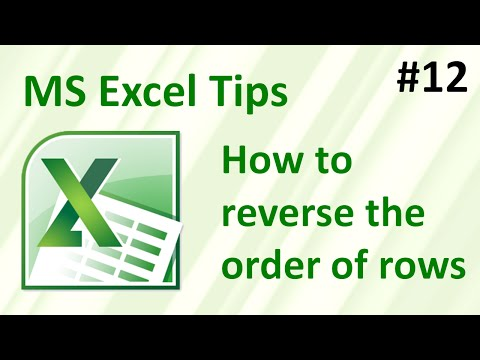 Excel: how to reverse the order of rows