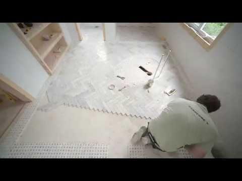 Installing Herring Bone tile Episode # 175 Hardcore Renos