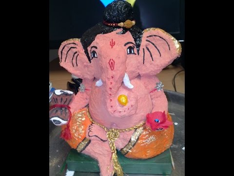 How to make Ganesh Idol from paper mache at home!!!