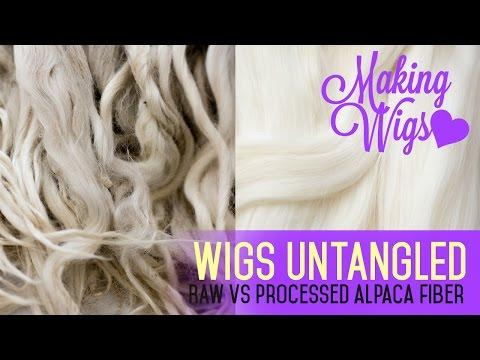 Wig Making for Dolls - Raw vs. processed alpaca fiber