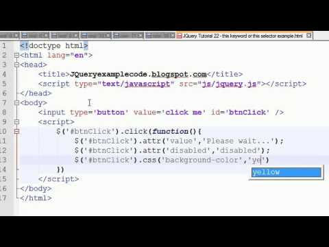 JQuery Tutorial 22 - this keyword or this selector example