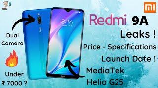 Redmi 9A Leaks | MediaTek Helio G25 | Redmi 9 Series |Redmi Smartphones 2020 | Xiaomi Redmi | PHONLY