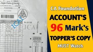 CA Foundation Accounts TOPPER'S COPY l Accounts Topper Copy Analysis l CTC Classes