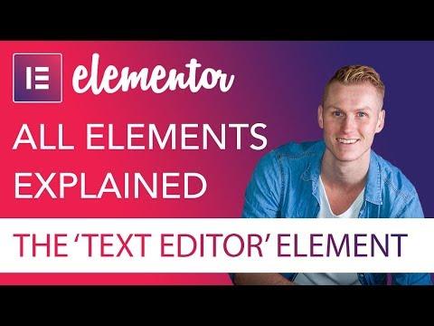 Text Editor Element Tutorial | Elementor