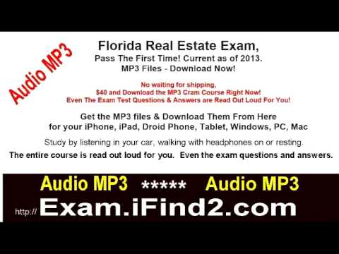 Florida Real Estate Exam Prep MP3 Files Downloadable- Pass the test the first time! 2013