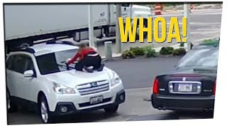 Woman Prevented Car Theft By Jumping On Hood!?