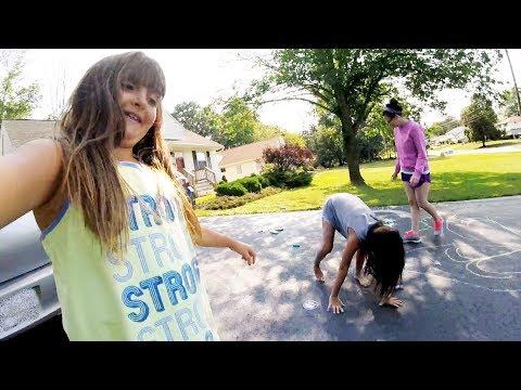 Cassie and Jessica Sidewalk Chalk Fun!