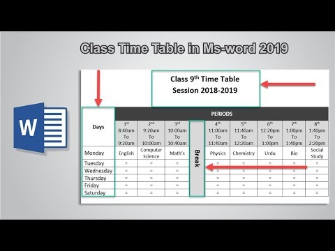 How to create time table in microsoft word 2019