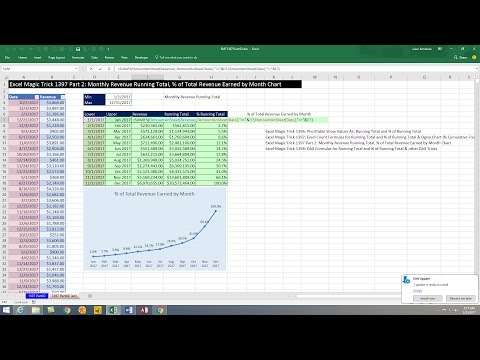 Excel Magic Trick 1397 Part 2: Formulas: Monthly Revenue, Running Total & % Running Total & Chart